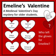 Emeline's Valentine Medieval Mystery is a no prep fun way for students to use their critical thinking skills to sort out and eliminate suspects until just one remains. Clues can be solved in any order. Suitable for middle school plus The product contains: Relief Teacher, Alphabet Code, Pig Pen, Higher Order Thinking, Math Task Cards, Substitute Teacher, Critical Thinking Skills, Math Concepts, Math Centers