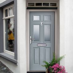 External Virtuoso Carlton Four Glazed Composite Door, Shown in Slate - Lifestyle Image Garage Door Trim, Garage Door Styles, Garage Doors, Grey Front Doors, Front Door Colors, Grey Composite Front Door, Grp Doors, External Doors, Doors