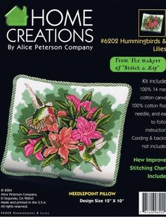 Hummingbirds and Lilies Pillow - Needlepoint Kit Alice Peterson http://www.amazon.com/dp/B004LT8RGU/ref=cm_sw_r_pi_dp_d7dmvb011QK9R