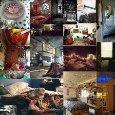 collage of tumblr rooms