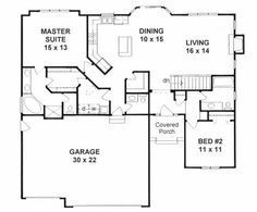 1387 sq ft The Ranch is efficient and affordable, with a more open floor plan, lower pitched roof, and attached garages. 2 Bedroom House Plans, Basement House Plans, Ranch House Plans, Dream House Plans, Tiny House Plans, House Floor Plans, Ranch Floor Plans, Basement Ideas, Small House Plans Under 1000 Sq Ft