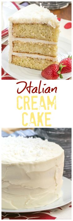 Italian Cream Cake | Three moist layers of coconut deliciousness with fluffy cream cheese icing @lizzydo
