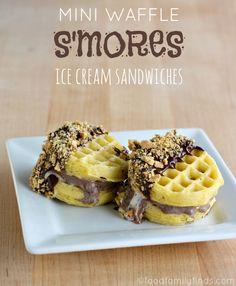#EggoWaffleOff Mini Waffle S'MORES Ice Cream Sandwiches Recipe