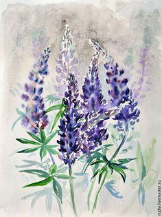 Купить Люпины Акварельная картина Летнее настроение Акварель Полевые цветы