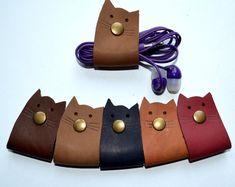 cord organizer earbud holder leather cord organizer | Etsy