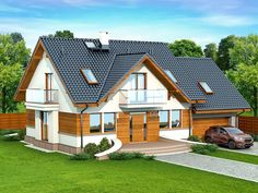 DOM.PL™ - Projekt domu DN KARMELITA GOLD 2M CE - DOM PC1-56 - gotowy koszt budowy House Structure Design, Modern House Design, Best Tiny House, Modern Rustic Homes, House Viewing, A Frame House, Village Houses, Modern Architecture House, Facade House