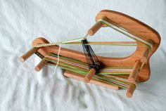 The Minstrel - Inkle Small Travel Sized Weaving Loom Made of Durable Red Oak Makes Long Band Lap Table Card Tablet