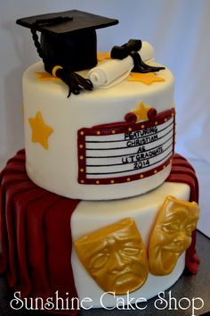 """Theater Theme Graduation Cake - 8"""", 6"""" cakes with modeling chocolate cap & mortar board, fondant diploma, marquee & drape, candy melt comedy & tragedy faces. Original design by smf-tls on this site."""
