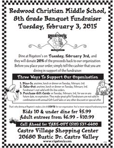 Dine at Rigatoni's in Castro Valley this Tuesday (2/3) and they'll donate 20% of the proceeds towards our 8th grade banquet fundraiser. Before you place your order, tell the cashier that you're supporting our fundraiser. #fundraiser #italianfood #castrovalley