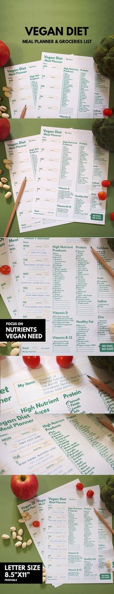 Vegan Diet : Meal Planner & Grocery List ▹ for Beginner Printable file Are you new to be a Vegan ? and you're not sure what you can eat for each day also not sure there is enough nutrient for your health?? As you know, some important nutrient is often founds on meat or dairy Fortunately !, you also can find it in the vegetable or seed and many way too!