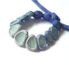RESERVED Bib seaglass necklace 13 sea glass gray blue jewelry Weddings Choker collar crochet OOAK beach handmade gift her Mothers Birthday via Etsy