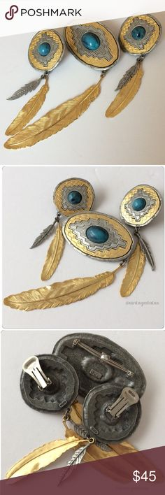 Vintage JJ Southwestern Feathers Brooch Earrings Vintage signed JJ for Jonette Jewelry pewter southwestern style faux turquoise cabochon pin and clip earrings demi parure set with dangling feathers. Gorgeous condition. Vintage Jewelry
