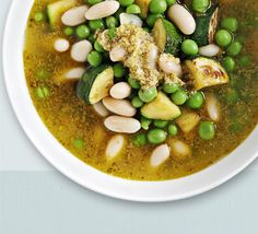 Courgette, pea & pesto soup. Enjoy this superhealthy soup when you want a comforting but low-calorie lunch - rich in fibre, vitamin C and folic acid.