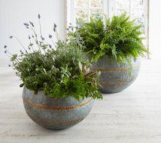 Oversized Set/ 2 Rustic Galvanized Metal Patio Garden Planter Flower/Plants Pots #Unbranded