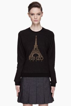 KENZO Black Striped Eiffel Tower embroidered Sweater
