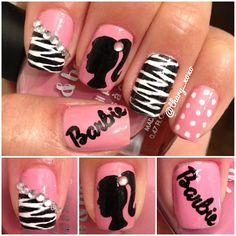 Barbie nail design; although I would probably do something different than the zebra pattern. Maybe more polka dots?