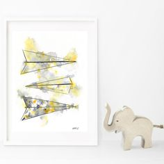 Items similar to Paper Planes Grey, Giclée Print of Original watercolour painting on Etsy Scandinavian Art, Watercolour Painting, Giclee Print, Origami, Etsy, The Originals, Unique Jewelry, Handmade Gifts, Paper Planes