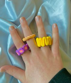 Diy Acrylic Rings, Diy Clay Rings, Diy Jewelry Unique, Funky Jewelry, Cute Jewelry, Fimo Ring, Polymer Clay Ring, Nail Ring, Cute Clay