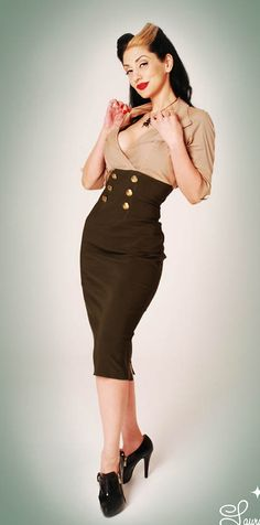 Military Dress in Tan and Green.  (Pinup Girl Clothing)