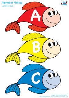 """Uppercase Alphabet Fishing Game"" from Super Simple Learning. #preK #kindergarten #ESL"
