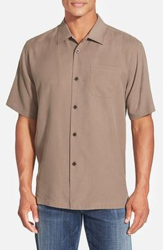 Men's Tommy Bahama 'Catalina Twill' Original Fit Silk Campshirt Joey Tribbiani, Tommy Bahama, Women Wear, Nordstrom, Short Sleeves, Product Launch, Men Casual, Silk, The Originals