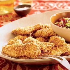 Oven-Fried Chicken Tenders with Five-Spice BBQ Sauce #chickenrecipes