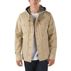 Vans Lismore Deluxe Jacket ($130) ❤ liked on Polyvore featuring men's fashion, men's clothing, men's outerwear, men's jackets, khaki, tan, mens cotton jacket, mens khaki jacket, tall mens jackets and mens tan leather jacket