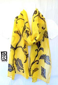 Hand painted silk scarf Yellow and Black Silk by SilkScarvesTakuyo, $120.00