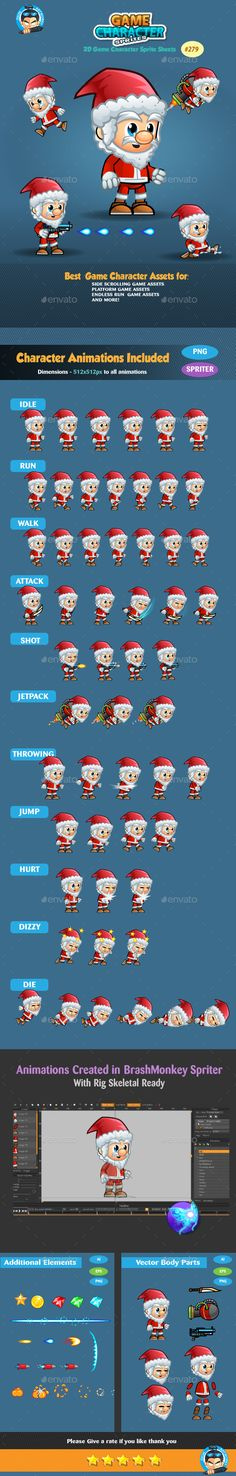 Santa Game Character Sprites 279 by pasilan ANIMATIONS Game Character Sprite SheetsThis assets is for developers who want to create their mobile game apps for I Jeopardy Game Template, Free Game Assets, Pixel Art Games, Game Background, Shooting Games, Game App, Mobile Game, Game Character, Free Games