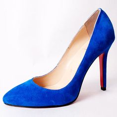 Christian Louboutin Point Toe Pump Suede Blue Shoes