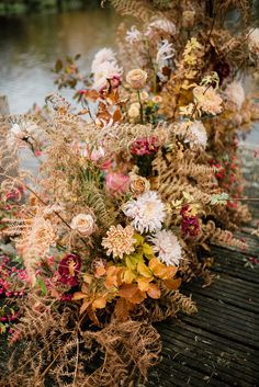Dried fern and orange flower display. Photography by Katrina Bartlam flowers Elegant Autumn Florals by Vervain Flowers at Hanley Hall Barn Wedding Venue in the Worcestershire Fall Wedding Flowers, Fall Flowers, Orange Flowers, Dried Flowers, Floral Wedding, Wedding Bouquets, Autumn Barn Wedding, Autumn Weddings, Romantic Weddings