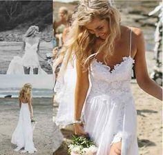 NEU Sexy Damen Hosenträger Spitze Chiffon Weiß langes Kleid Abend Party Kleidung