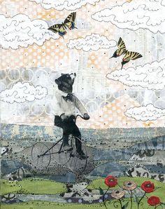 Bear Art Print. Mixed Media Collage Reproduction Art Print. 8 x 10  The Bike Ride