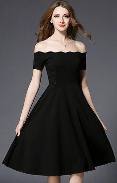 Sexy Slash Neck Short Sleeve Pure Color Skater Dress