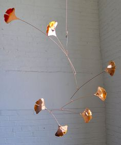 Copper Mobile with Handmade Ginkgo Leaf by jfjones on Etsy, $75.00