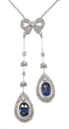 Edwardian Style Ceylon Sapphire & Diamond 18k White Gold Necklace