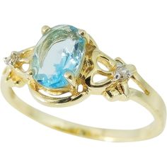 Blue Topaz 14k Diamond Accent Ring from Premier-Antiques a Ruby Lane Shop