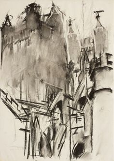 Dennis Creffield, Exeter Cathedral: The Two Transept Towers from the South-East, 1988-90, Charcoal on paper |Pallant House Gallery (Wilson Gift through The Art Fund, 2006) © Dennis Creffield