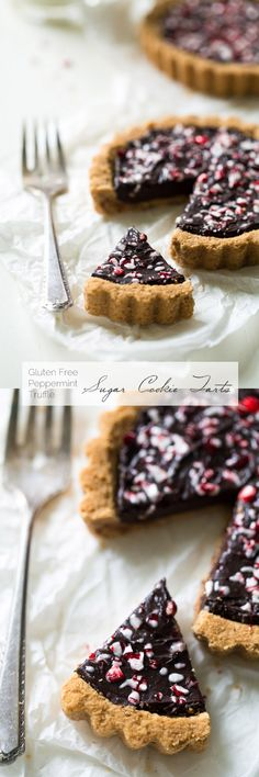 Gluten Free Sugar Cookie Tarts with Peppermint Truffle Filling - Healthier tarts that are SO rich, creamy and easy to make! They'll be a huge hit at Christmas! | Foodfaithfitness.com | #recipe