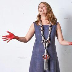 Helen Britton wearing one of her neckpieces !!