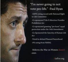 so he will never vote pro-women
