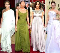 Jennifer Lopez's #Oscars fashions -- 2003: Valentino; 2006: Jean Desses; 2007: Marchesa; 2010: Giorgio Armani Prive
