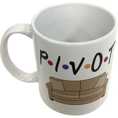 Pivot Mug From Friends Tv Show Coffee Cup P-I-v-O-T F-R-I-E-N-D-S F R... ($8.95) ❤ liked on Polyvore featuring home, kitchen & dining, drinkware, drink & barware, home & living, mugs, silver, white coffee cups, white mug and dishwasher safe coffee mugs