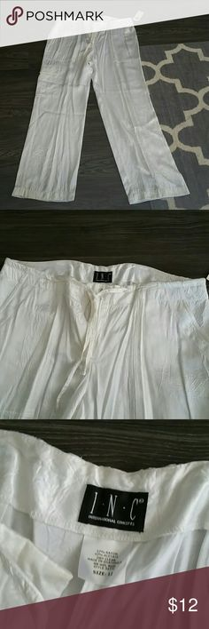 Silky White Drawstring Pants Never wore these but super cute with a black halter or tube top when you are heading to the beach for vaca! INC International Concepts Pants
