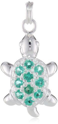 Sterling Silver Created Emerald Turtle Charm