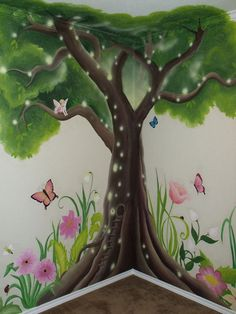 Girls Mural Gallery - Leila& Art Corner - Face Painting, Balloons, Kids Parties, Murals, and Art for Kids. Serving the Dallas & Fort Worth (DFW) area. Kids Room Murals, Murals For Kids, Bedroom Murals, Art For Kids, Garden Bedroom, Art Corner, Little Girl Rooms, Diy Painting, Painting Trees On Walls