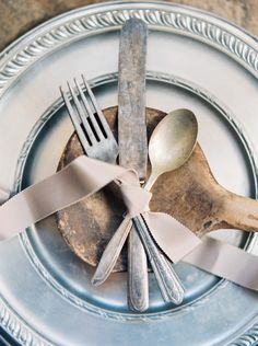 #silver, #silverware, #chargers  Photography: Taylor Lord Photography - taylorlordphotography.com  Read More: http://www.stylemepretty.com/2014/08/14/rustic-romance-at-mission-san-jose/