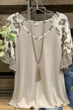 Casual Tops For Women, Blouses For Women, T Shirts For Women, Ladies Tops, Sandro, Leopard Print Top, Shirts & Tops, Cotton Shirts, Casual T Shirts