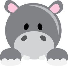 Cute hippo peeker