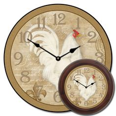 A charming, romantic rooster clock that will definitely add a touch of rustic flair to any room in your home. This makes a great kitchen clock, and you can make it your own by adding a saying or your family name on the face. We have different wall clock sizes to choose from, and you can add a frame as well!